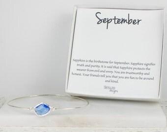 September Birthstone Sterling Silver Bangle, Sapphire Silver Bangle, September Birthday, Sterling Silver Bracelet, Sapphire Bangle Bracelet