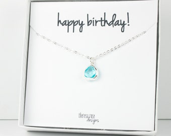 Tiny March Birthstone Silver Necklace, Aquamarine Necklace, Silver Necklace, March Birthday Gift, Bridesmaid Jewelry, Gifts Under 20