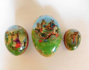 Vintage Paper Mache Easter Eggs Nestler Made in Germany SET of Three Nesting EGGS