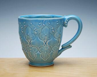 Aqua mug, Victorian Moroccan Stamped cup