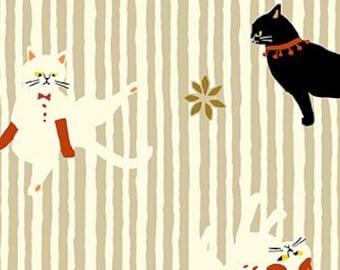 Quilt Gate Hyakka Ryoran NEKO III cats in cream cotton fabric HR3180-15A