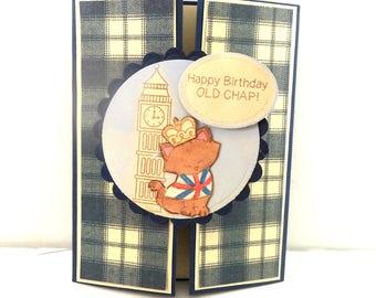 Male Birthday Card, Happy Birthday Ol' Chap, Men's Card, Handmade Greeting Card, Cat Birthday Card, English Birthday Card, British Cat Card
