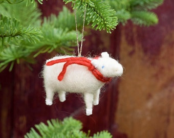 Lamb with a Red Scarf - Needle Felted Christmas Ornament