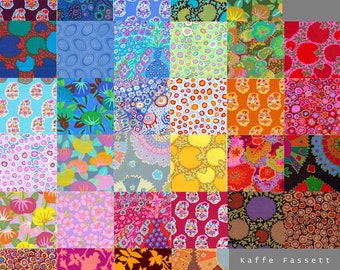 33 Different Kaffe Fassett Fabric Charm Square Pack - Prewashed, Rotary cut