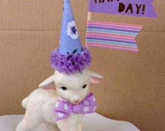 Birthday Decoration Shabby Chic Lefton Lamb Birthday Figurine Cake Topper,Birthday Ornament for Birthday Party