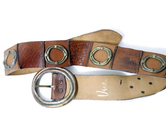 Vintage Vera Belt // 70s Boho Belt Brown Leather Stiched Belt// Heavy Metal Buckle Leather Belt// 134