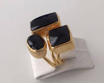 Triple Gold plated   Onyx    ring