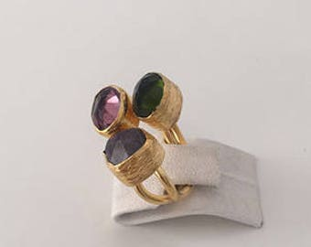Triple Gold plated  Peridot and  Amethyst  ring