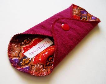 "7"" 18cm Flannel Panty Liner, Red Purple Gold Ornate Vintage Print, Cloth Menstrual Pad Cloth Panty Liner Cup Backup San Pro Incontinence Pad"