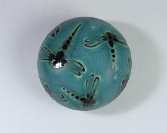 Teal Blue Saltshaker with Dragonflies / Single Hole Saltshaker