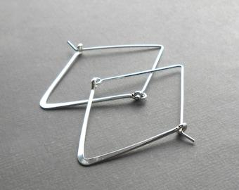 Sterling Silver Hoop Earrings, Large Geometric Hoops, Minimal Triangle