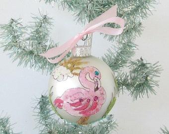 Pink Flamingo White Satin Glass Bulb Ornament, Flamingo Xmas Tree Ornament, Handpainted Flamingo, Flamingo Xmas Decor
