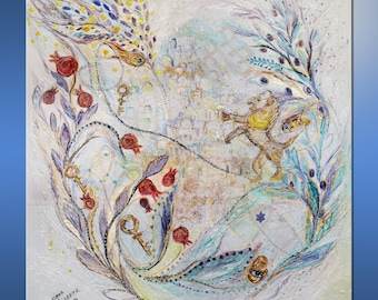 Original canvas painting blue red gold thick paint pearl background with olive branch pomegranates gold keys large wall hanging clever gift