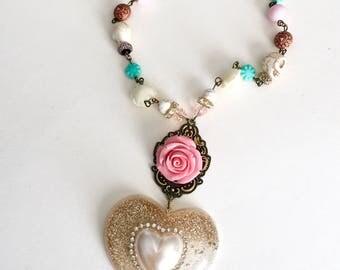 Sweet Desert Rose Resin Heart Necklace