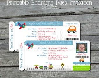 Transportation Birthday Invitation   Boarding Pass Invite   Planes Trains Automobiles   Cars   Photo Invite   digital   printable   cute