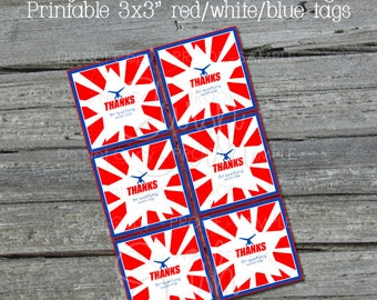 Ninja Favor Tags | Bag Toppers | Thank You for coming | Red White Blue | Gymnastics Party  | Parkour | INSTANT DOWNLOAD
