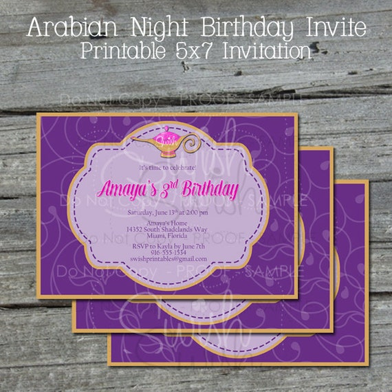 Arabian Nights Birthday Invitation Genie Lamp Birthday Princess