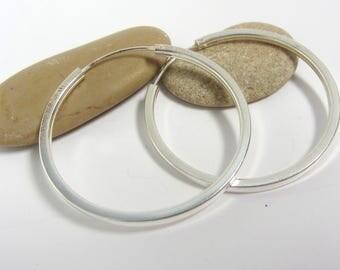 Silver Hoop Earrings - Sterling Silver Hoops - Square Wire Hoops - Silver Gypsy Hoops - Round Silver Hoops - Closed Silver Hoops
