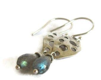 Labradorite Earrings, Labradorite Jewelry, Blue Labradorite, Labradorite Drops, Silver Labradorite, Blue Silver Earrings, Blue Flash