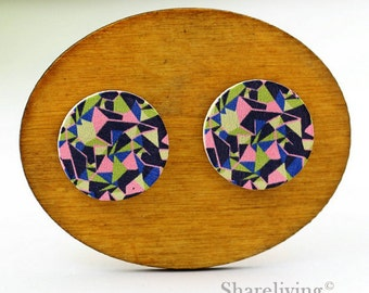 Buy 1 Get 1 Free - Geometry Wooden Cabochon Button, 12mm 15mm 20mm  Round Handmade Photo Wood Cut Cabochon -- HWC048S