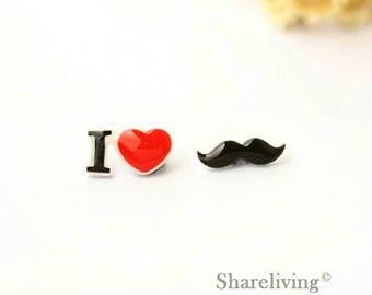 4pcs (2 pairs) Mini i love Moustache Charm / Pendant, Stud Earring, Laser Cut Tiny Mustache Earring, Perfect for Earring / Rings - YED023H