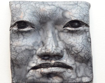 Black and White Sad Face Tile in Naked Raku: Handmade One of a Kind Wall Hanging 5 X 5