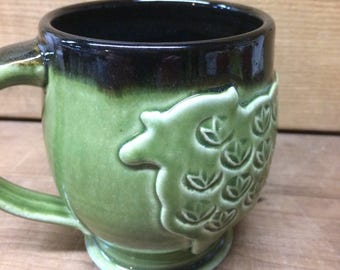 Sheep Mug Green Pottery Coffee Mug