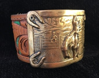 Antique Western Buckle Leather Cuff