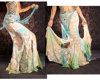 Long Flowing Mermaid Skirt, gorgeous lace patchwork, Siren costume, belly dance, steampunk bride, gothic lolita wedding, boho chic, vampire
