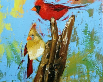 Birds 145 18x18 inch bird animal portrait original oil painting by Roz