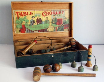 Antique Table Croquet, Victorian Parlor Game, 1900s Wooden Toys, Striped Mallets, Balls, Green Pine Box, Family Game Night, Collectibles