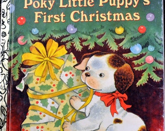 "Vintage Children's Book ""Poky Little Puppy's First Christmas"" Little Golden Book Last Minute Gift"