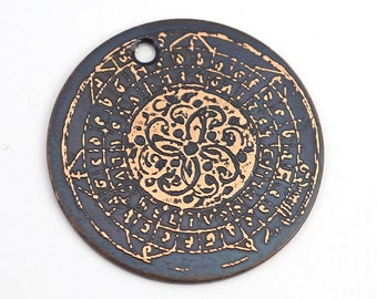 Copper spiral pendant, round flat etched illuminated manuscript focal point, pattern charm, 28mm