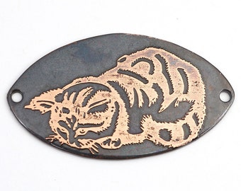 2 hole copper tabby cat component, flat metal pointed oval bracelet link, 37mm x 21mm