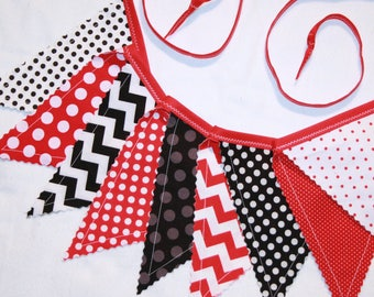 Pennant bunting fabric banner in red and black - 9 double sided flags total - boy girl birthday ladybug mickey mouse