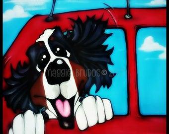 bernese mountain dog berner bmd car ride junkie driving backseat driver original maggie brudos painting Original whimsical DOG art