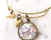 Morehead State University Map Charm Bangle Bracelet - Map Jewelry - Kentucky - Graduation Gift - Alumni - Student