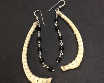 Genuine Raccoon Bone, Fine Silver and Black Crystal Drop Earrings, Bone Earrings, Bone and Silver Earrings, Victorian Era Inspired Earrings