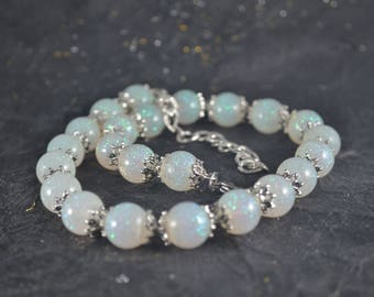 Iridescent Resin Round Bead Silver Necklace - Pearl Necklace Style - Resin Round Beads - Glitter White AB Color - Beaded Necklace