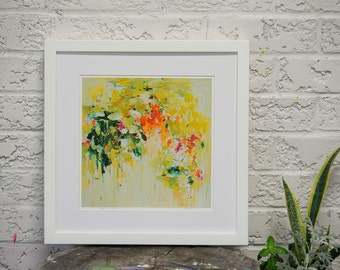 Art Print-abstract painting print - spring print- wall art- Gardening in June - Giclee Print-matted print 16 x 16