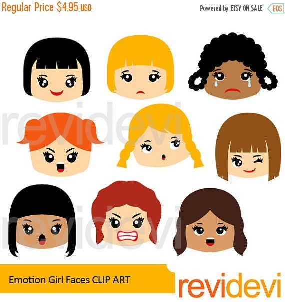 50% OFF SALE Emotions clipart feelings clipart Emotion girl