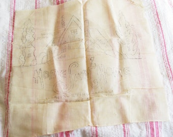Home Sweet Home...Charming Vintage Stamped Pillow Cover for Embroidery