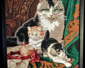 Beautiful Vintage Paint by Number Mother Cat with Her Kittens Great Color Detail