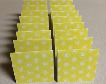 Mini Cards 16 Yellow sunshine - blank for thank you notes 3 x 3
