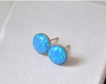 SALE Opal Earrings,  Sterling Silver,  Opal Stud  Earrings,  Australian Opal,  Blue Earrings,  Opal Jewelry,  925 Silver,  10mm Stone