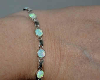 Opal Bracelet,  Silver Opal Bracelet,  White Opal,  Wedding Jewelry,  Opal Jewelry,  Sterling Silver,  Gift for Her
