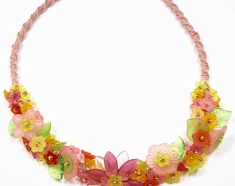 Spring Pastels Garden Necklace, Lucite Flower Necklace, Pink Yellow Green, Macrame Necklace, Statement Flower Necklace, Mothers Day Necklace