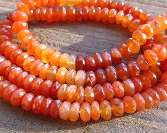 Shaded Carnelian beads rondelles faceted - 6 1/2 inches  7mm X 4mm - semiprecious gemstone