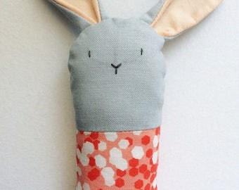 Gray and Coral Bunny Rattle - Soft Baby Toy