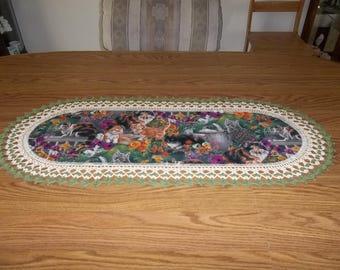 Crochet Table Runner Cats and Kittens Table Topper Centerpiece Lace Table Runner Fabric Center Crocheted Edging Dresser Scarf Handmade Gift